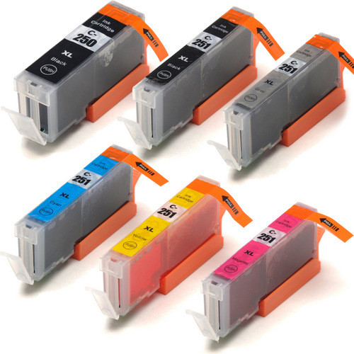 6 Pack - Compatible replacement for Canon PGi-250 and Cli-251 series ink cartridges