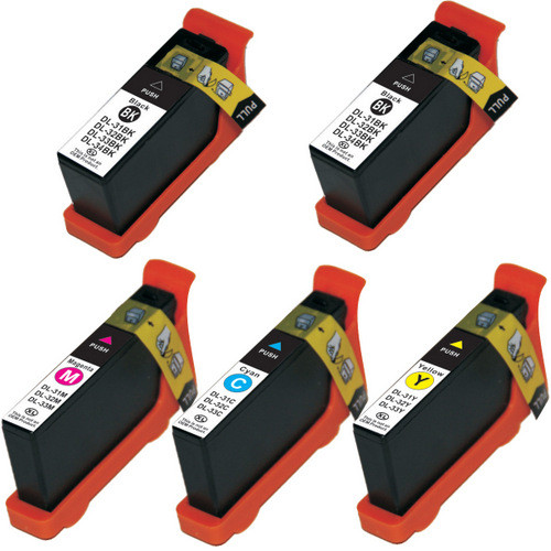 5 Pack - Compatible replacement for Dell series 33 and series 34 ink cartridges