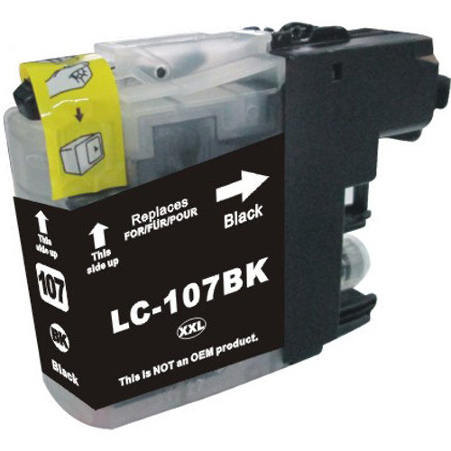 Extra high yeild compatible replacement for Brother LC107Bk black ink cartridge