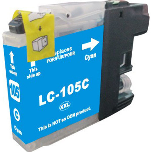 Compatible replacement for Brother LC105C cyan ink cartridge