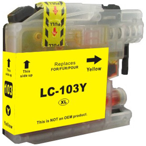 Compatible Brother LC103Y High-Yield Yellow Ink Cartridge (Replaces LC101Y)