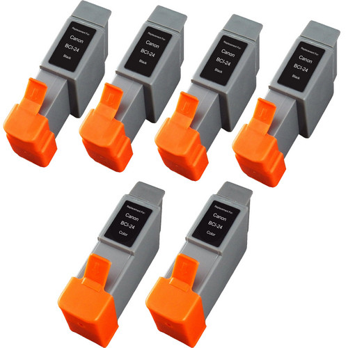 6 Pack - Compatible replacement for Canon BCI-24 series ink cartridges
