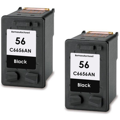 Twin Pack - Remanufactured replacement for HP 56 (C6656AN) black ink cartridges