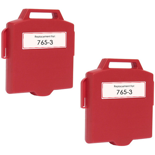 Pitney-Bowes 765-3 red ink cartridges twin pack