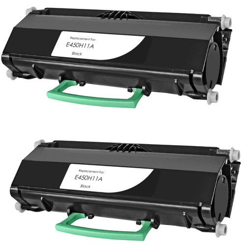 Twin Pack - Remanufactured replacement for Lexmark E450H11A black laser toner cartridge