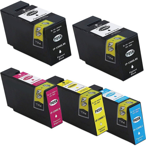 5 pack - Compatible replacement for Canon PGI-1200XL high yield black and color ink cartridges