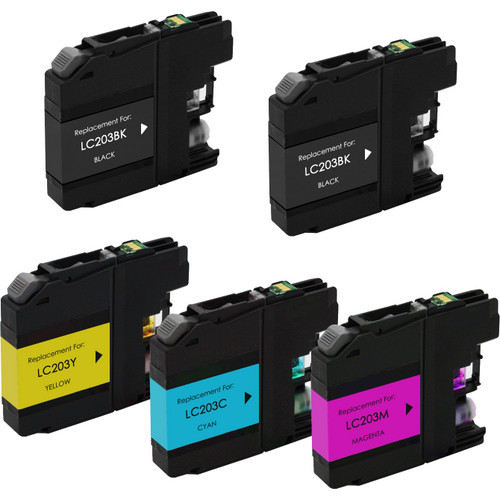 5 pack Brother LC203 high yield ink cartridges