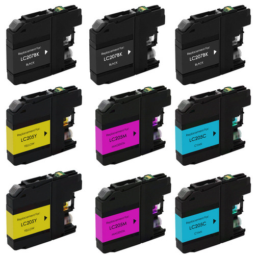 9 pack Brother LC207 extra high yield black and LC205 Color ink cartridges