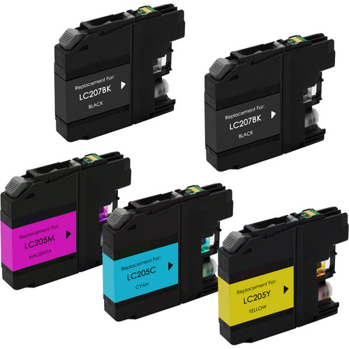 5 pack - Brother LC207 extra high yield black and LC205 Color ink cartridges