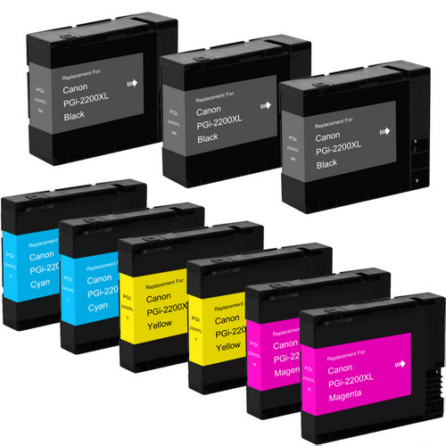 9 pack - Compatible replacement for Canon PGI-2200xl high yield black and color ink cartridges
