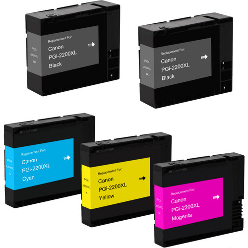 5 pack - Compatible replacement for Canon PGI-2200xl high yield black and color ink cartridges