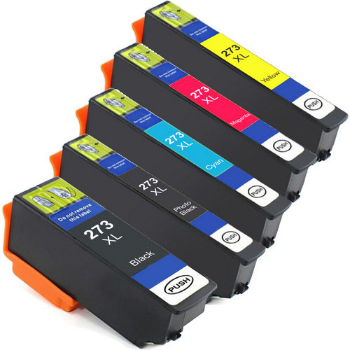 Epson 273XL High Yield Combo Pack of 5, Includes 1 black, 1 Photo Black, 1 cyan, 1 magenta and 1 yellow Remanufactured Replacement Ink Cartridges