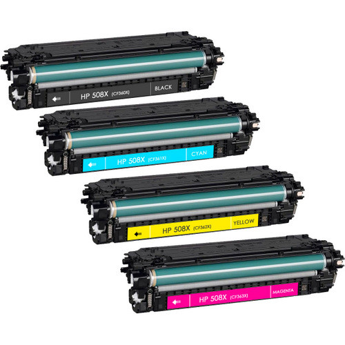 HP 508X Toner Cartridge High Yield Combo Pack. Includes 1 Black, 1 Cyan, 1 Magenta and 1 Yellow