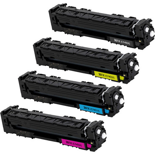 HP 201X Toner Cartridge High Yield Combo Pack. Includes 1 Black, 1 Cyan, 1 Magenta and 1 Yellow