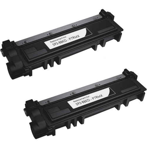 Twin Pack - Compatible replacement for Dell 593-BBKD (P7RMX) black toner cartridge