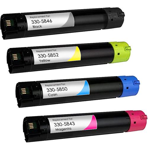 Dell 330-5846 series toner cartridges Includes 1 black, 1 cyan, 1 magenta and 1 yellow toner cartridge