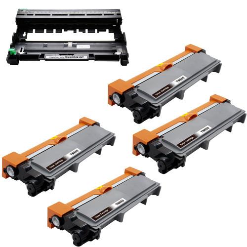 4-Pack Brother TN660 Toner Cartridge + 1 DR630 Drum Unit