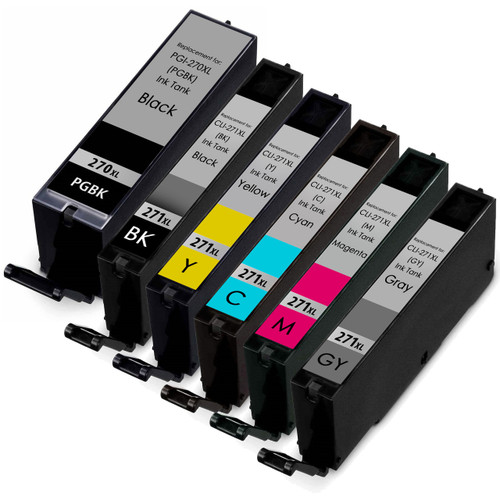 6 Pack - Canon PGi-270XL and Cli-271XL High Yield Compatible Ink Cartridge Set
