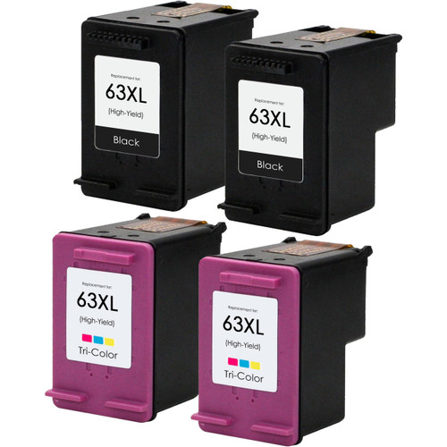 Replacement Ink Cartridge Set For HP 63XL, High Yield