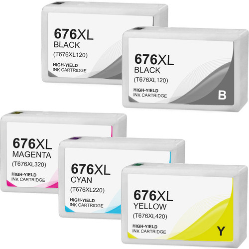 Ink Cartridge Set For Epson T676XL - 5 pack