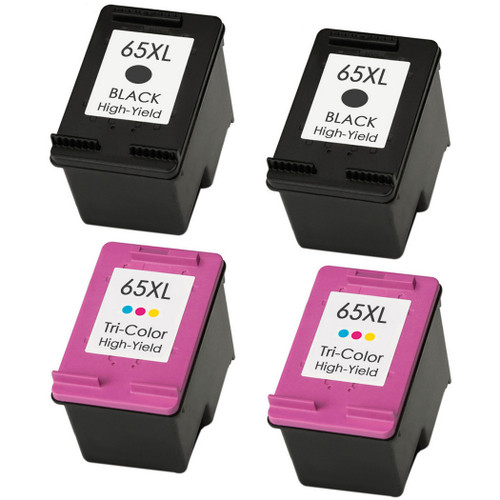 HP 65XL Black and Color in cartridges - 4 Pack