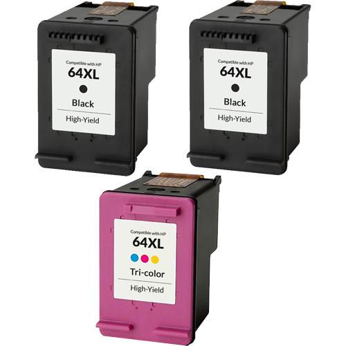 3 Pack - HP 64XL Ink Cartridge Set, High Yield
