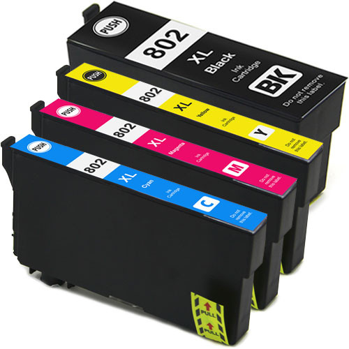 Epson T802XL Ink Cartridge Set, High Yield - 4 Pack