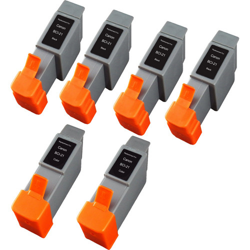 6 Pack - Compatible replacement for Canon BCI-21 series ink cartridges