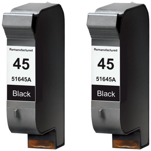 Twin Pack - Remanufactured replacement for HP 45A (51645A) black ink cartridges