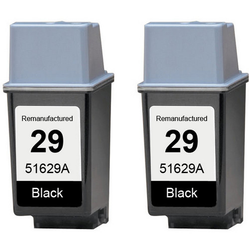 Twin Pack - Remanufactured replacement for HP 29 (51629A) black ink cartridges