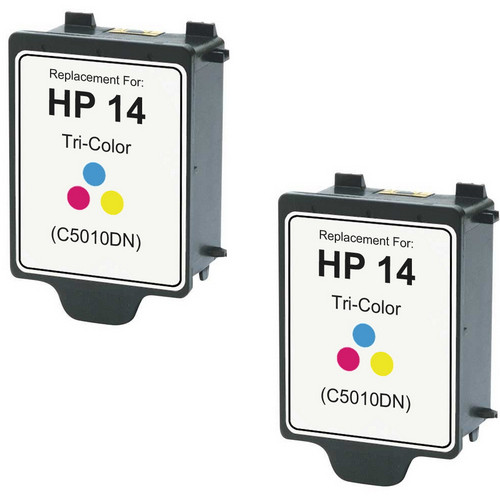 Twin Pack - Remanufactured replacement for HP 14 (C5010DN) color ink cartridges