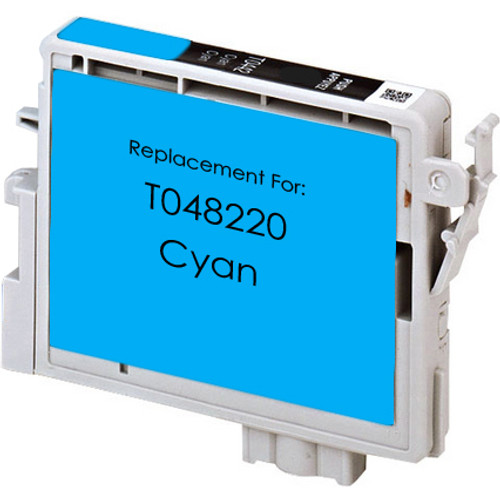 Remanufactured replacement for Epson T048220 cyan ink cartridge