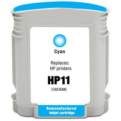 Remanufactured replacement for HP 11 (C4836AN) cyan ink cartridge