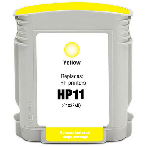 Remanufactured replacement for HP 11 (C4838AN) yellow ink cartridge