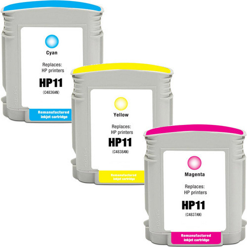3 Pack - Remanufactured replacement for HP 11 series ink cartridges