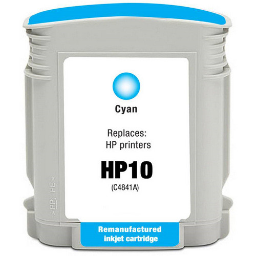 Remanufactured replacement for HP 10 (C4841A) cyan ink cartridge