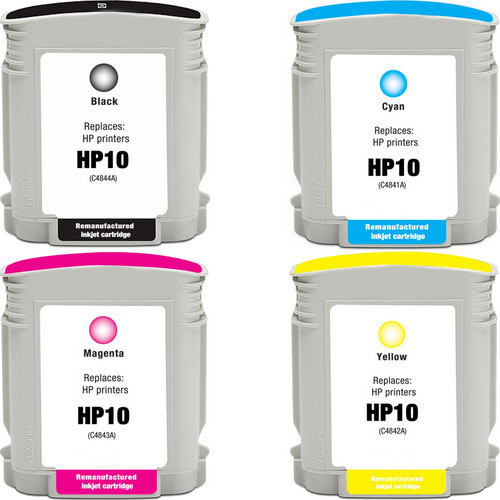 4 Pack - Remanufactured replacement for HP 10 series ink cartridges