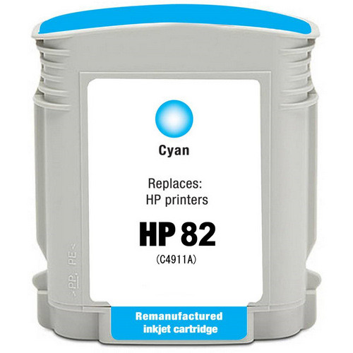 Remanufactured replacement for HP 82 (C4911A) cyan ink cartridge