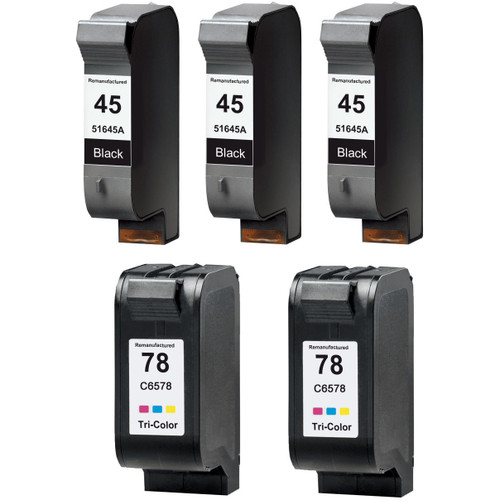 5 Pack - Remanufactured replacement for HP 45A and 78 series ink cartridges