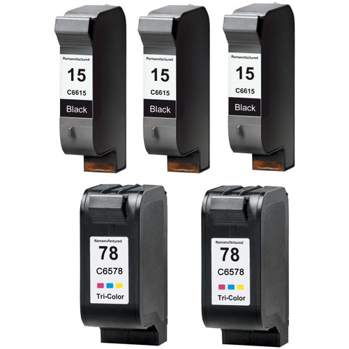 5 Pack - Remanufactured replacement for HP 15 and 78 series ink cartridges