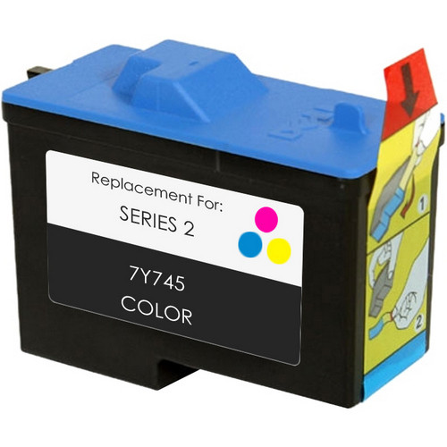 Remanufactured replacement for Dell series 2 (7Y745) color ink cartridge