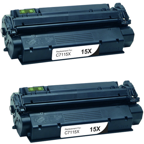 Twin Pack - Remanufactured replacement for HP 15X (C7115X) black laser toner cartridge