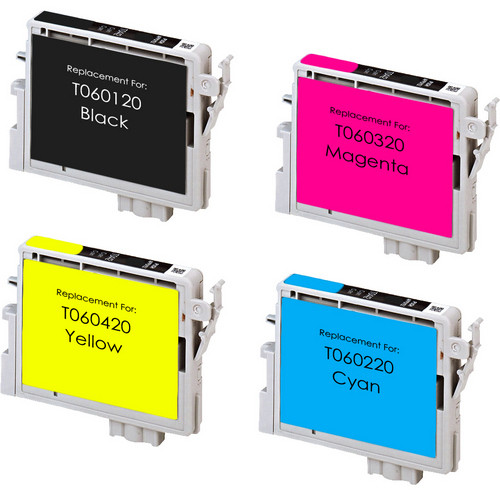 4 Pack - Remanufactured replacement for Epson T060 series ink cartridges