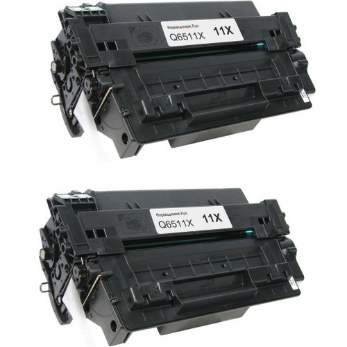 Twin Pack - Compatible replacement for HP 11X (Q6511X) black laser toner cartridge