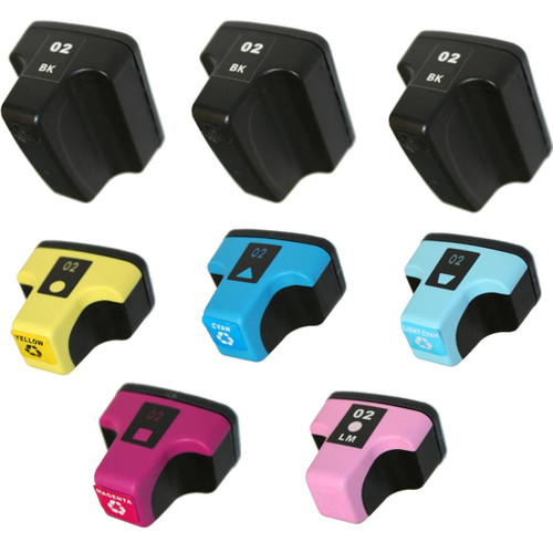 8 Pack - Remanufactured replacement for HP 02 series ink cartridges