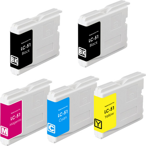 5 Pack - Compatible replacement for Brother LC51 ink cartridges