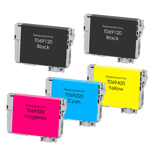 5 Pack - Remanufactured replacement for Epson T069 ink cartridges