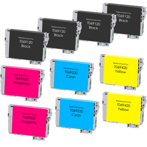 10 Pack - Remanufactured replacement for Epson T069 ink cartridges