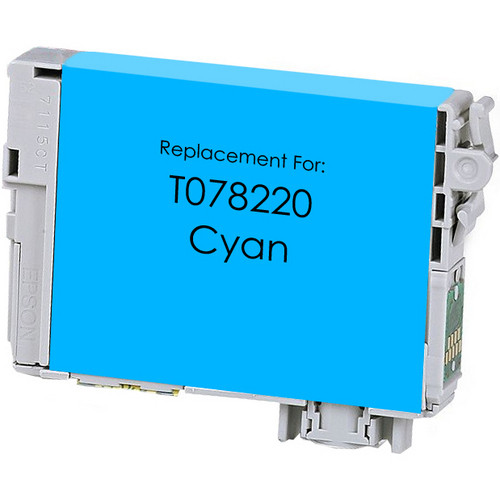 Remanufactured replacement for Epson T078220 cyan ink cartridge