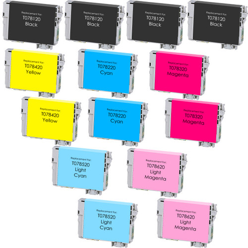 14 Pack - Remanufactured replacement for Epson T078 series ink cartridges